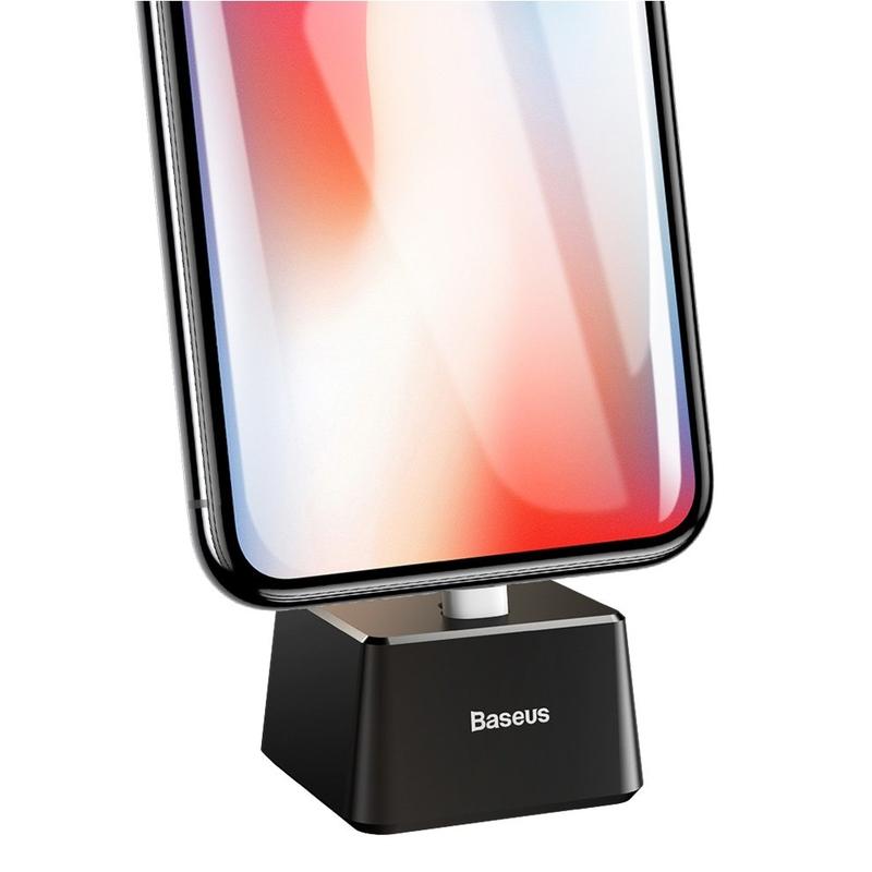 Suport telefon birou Baseus, stand incarcare, cablu Lightning, negru, SUGENT-YF01