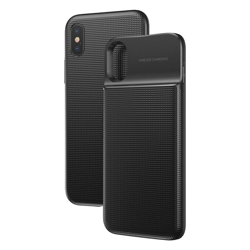 Husa iPhone X, iPhone 10 + PowerBank 5000 mAh Baseus Wireless Charging - ACAPIPHX-ABJ01 - Negru