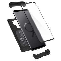 [PACHET 360°] Husa + Sticla Samsung Galaxy S9+ Plus Thin Fit SPIGEN - Black
