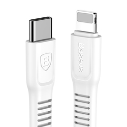 Cablu de date USB-C - Lightning Baseus Tough Series- Alb