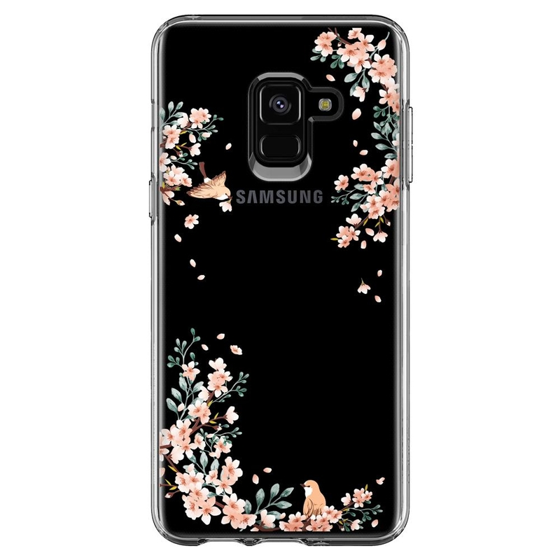 Bumper Samsung Galaxy A8 2018 Spigen Liquid Crystal Blossom - Nature