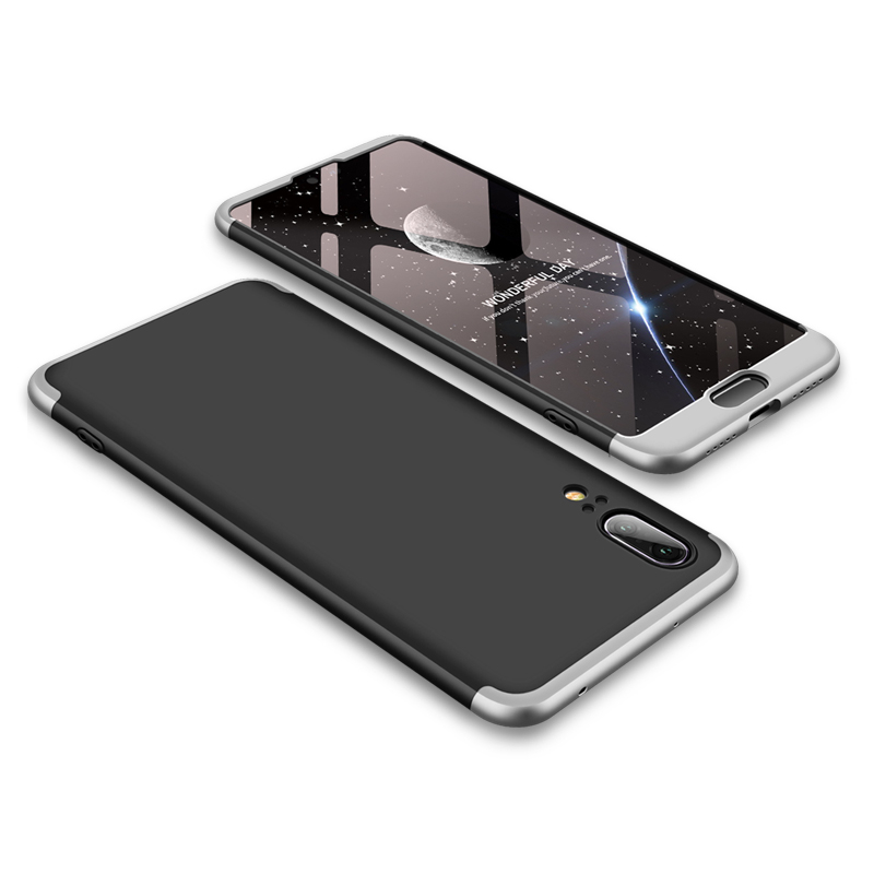 Husa Huawei P20 GKK 360 Full Cover Negru-Argintiu