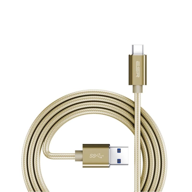 Cablu de date ESR Braided USB - Type-C 1M 3.0A Auriu