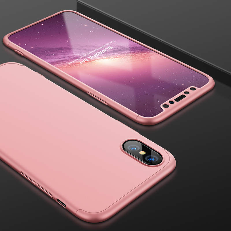 Husa iPhone XS GKK 360 Full Cover Rose Gold