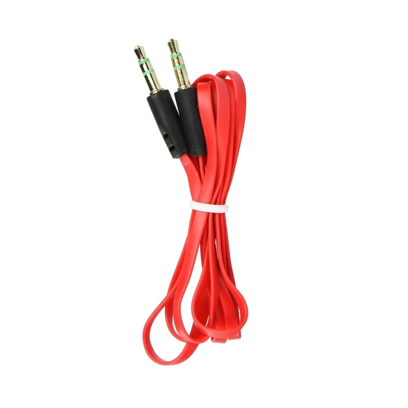 Cablu Auxiliar 1.0M Cu Jack 3.5mm Flat - Rosu