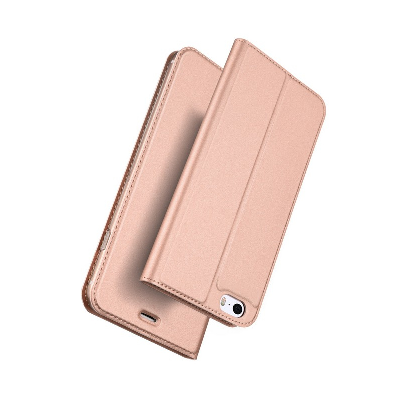 Husa iPhone 5 / 5s / SE Dux Ducis Flip Stand Book - Roz