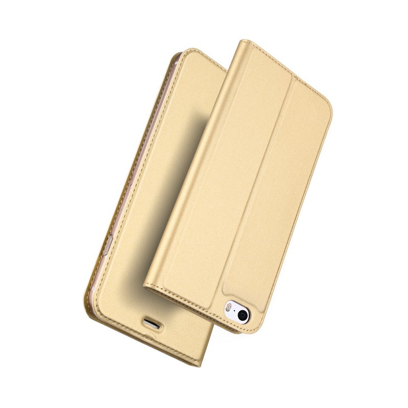 Husa iPhone 5 / 5s / SE Dux Ducis Flip Stand Book - Auriu