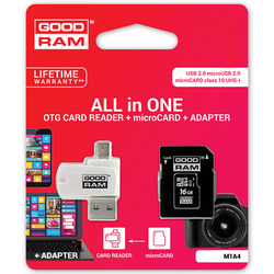 Card de memorie GOODRAM Micro SDHC Class 10 32 GB UHS-I + Adaptor SD si Card Reader Micro-USB
