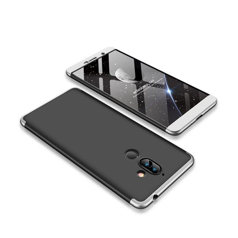 Husa Nokia 7 Plus GKK 360 Full Cover Negru-Argintiu