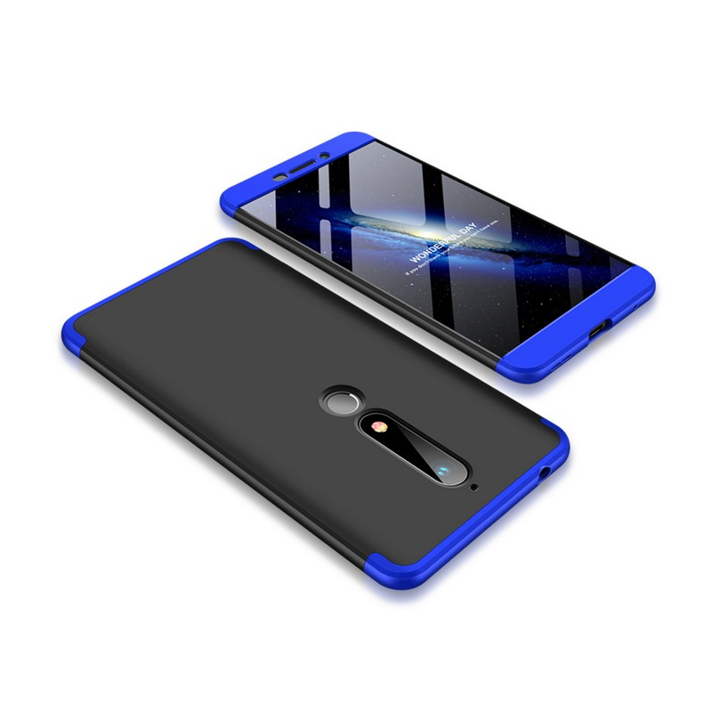 Husa Nokia 6 (2018) GKK 360 Full Cover Negru-Albastru