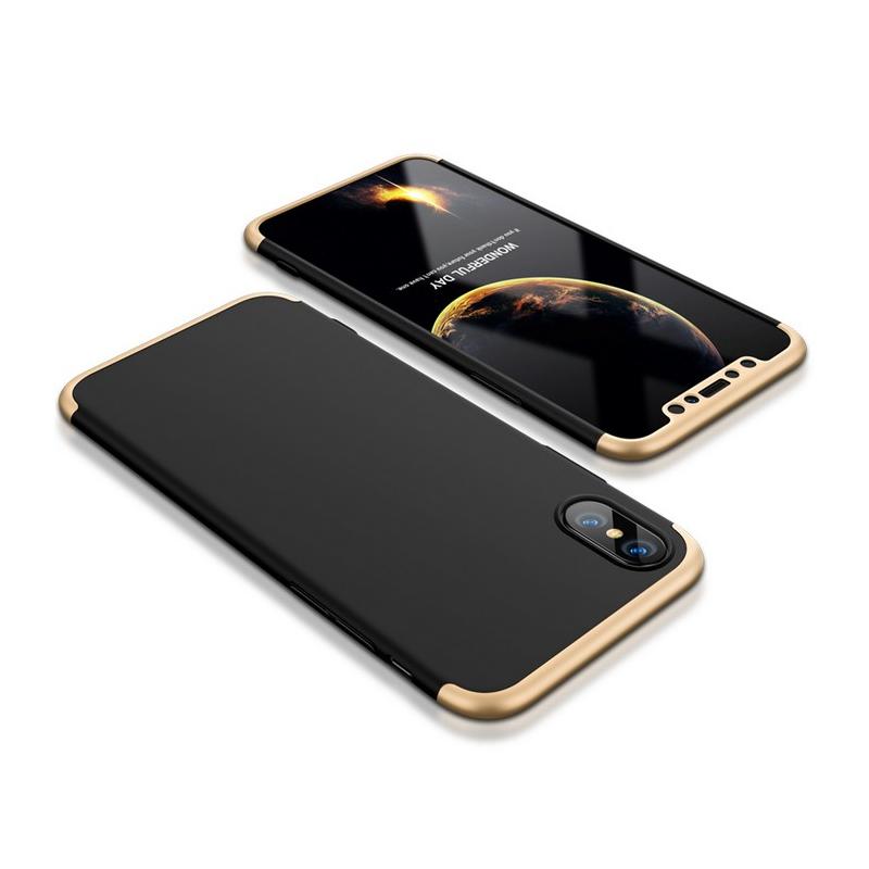 Husa iPhone XS GKK 360 Full Cover Negru-Auriu