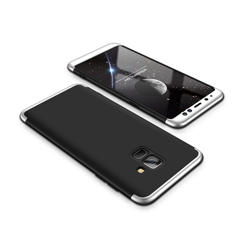 Husa Samsung Galaxy A8 2018 A530 GKK 360 Full Cover Negru-Argintiu