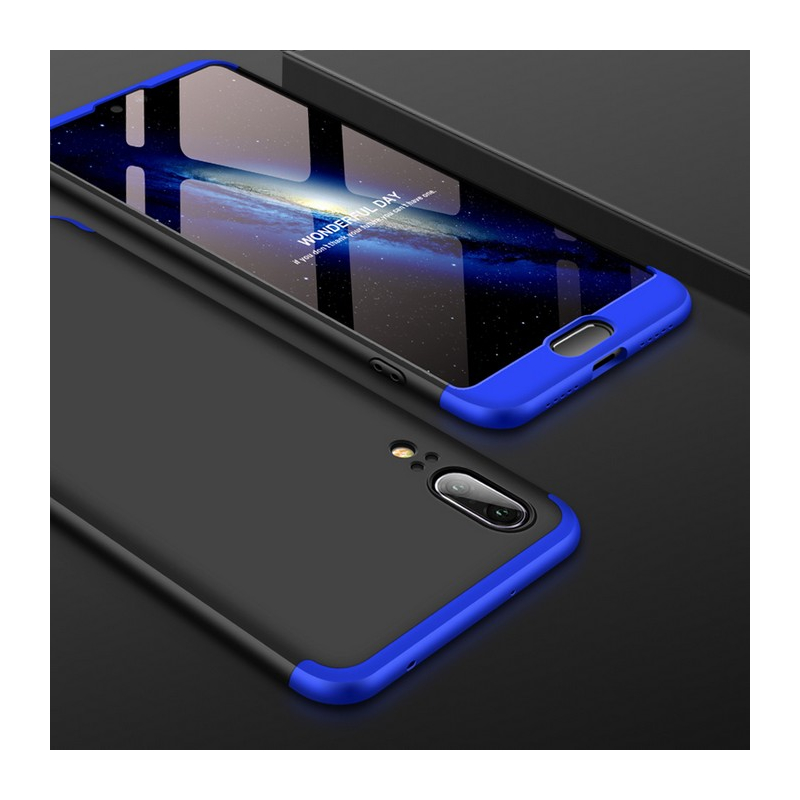 Husa Huawei P20 GKK 360 Full Cover Negru-Albastru