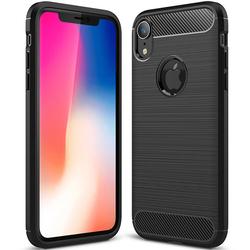 Husa iPhone XR TPU Carbon Cu Decupaj Pentru Sigla - Negru