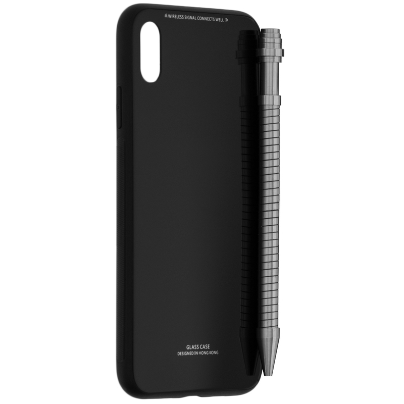 Husa iPhone XS Max Glass Series - Negru