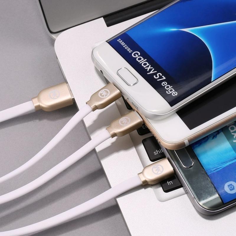 Cablu de date 1M 3in1 WK Desing WDC-010 USB-C, Lightning, Micro-USB - Auriu