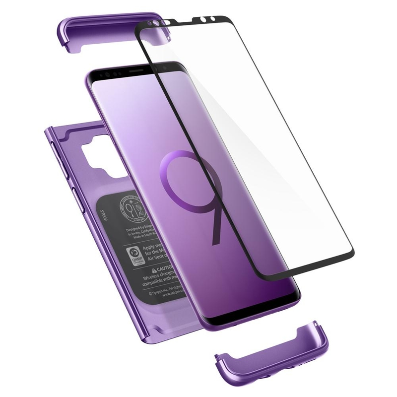 [PACHET 360°] Husa + Sticla Samsung Galaxy S9 Thin Fit SPIGEN  - Lilac Purple