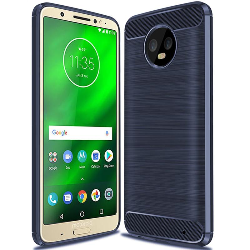 Husa Motorola Moto G6 Plus TPU Carbon Albastru