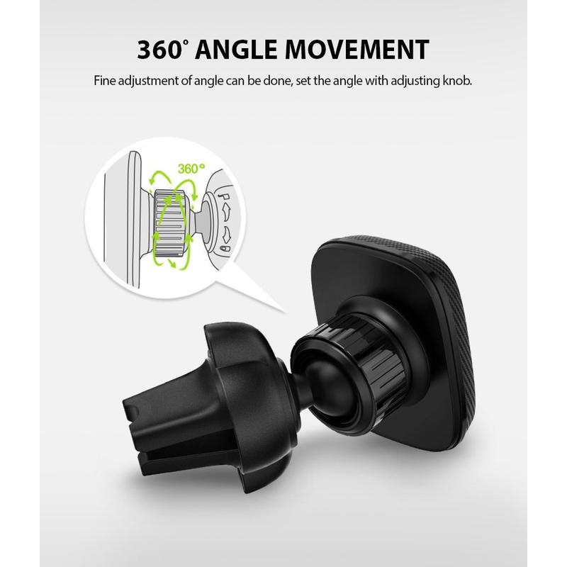 Suport Auto Pentru Grila De Ventilatie Magnetic Ringke Power Pentru Telefon - Negru