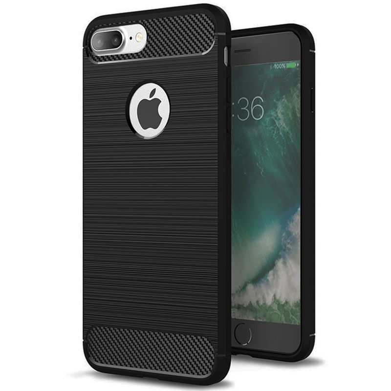 Husa iPhone 7 Plus TPU Carbon Cu Decupaj Pentru Sigla - Negru