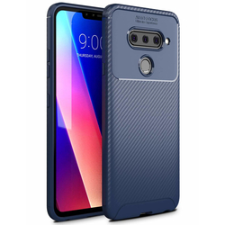 Husa LG V40 ThinQ Mobster Carbon Skin Albastru