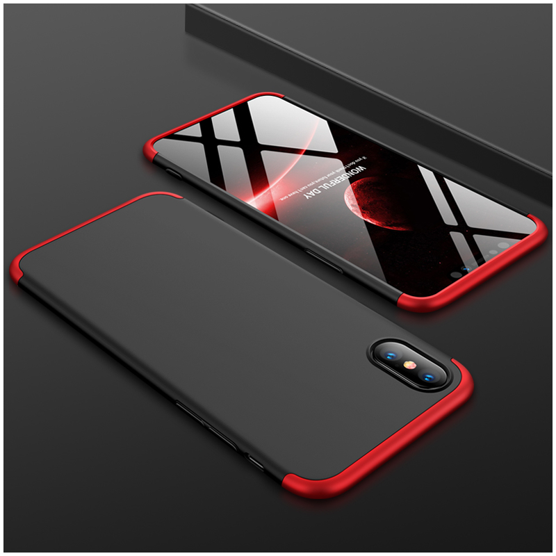 Husa iPhone XS Max GKK 360 Full Cover Negru-Rosu
