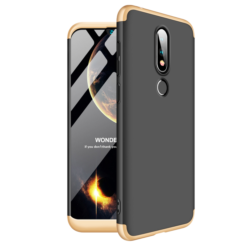 Husa Nokia X6 2018 GKK 360 Full Cover Negru-Auriu