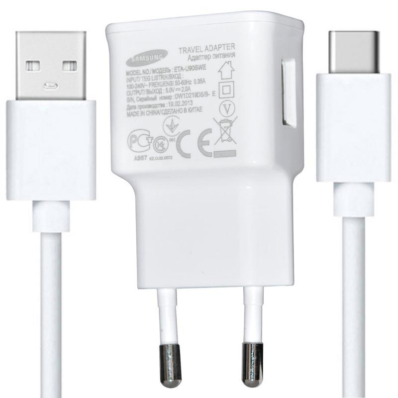 Incarcator Priza Original Samsung EP-TA50EWE Bulk + Cablu de Date USB-C - Alb