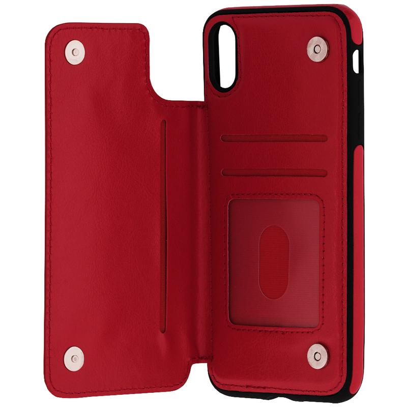 Bumper iPhone XS Max Mobster Wallet - Rosu