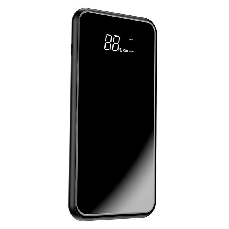 Acumulator extern 8000mAh Baseus 2x USB, incarcare wireless, negru, PPALL-EX01