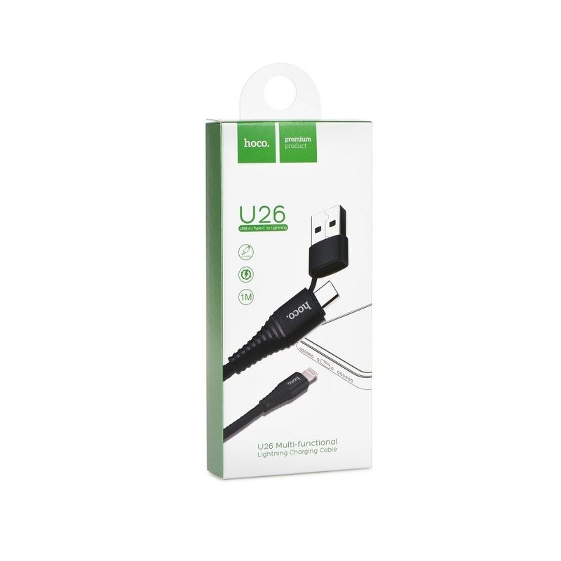 Cablu de date USB/USB-C - Lightning Hoco Radiance U26 1M 2.0A - Negru