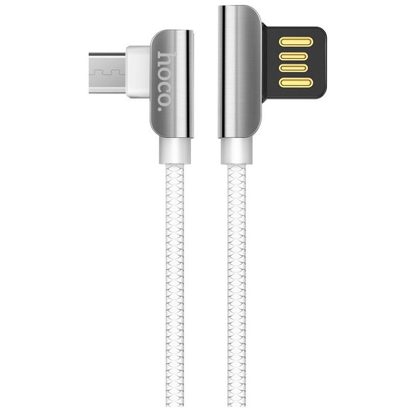 Cablu de date Micro-USB Hoco Steel U42 1.2M 2.4A - Alb
