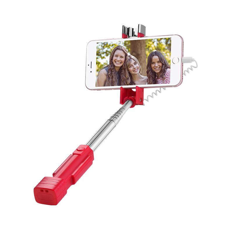 Suport Selfie Stick Conexiune Lightning Hoco K3A - Negru