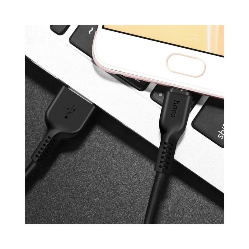 Cablu de date Lightning Hoco Radiance X20 1M 2.4A - Negru