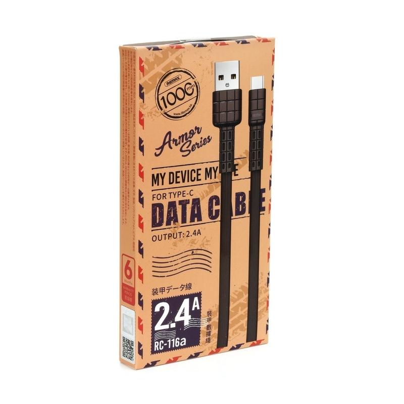 Cablu de date Type-C Remax RC-116a 1M 2.4A - Negru