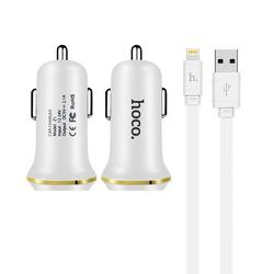 Incarcator Auto Hoco Z1 2xUSB 2.1A + Cablu Lightning Alb