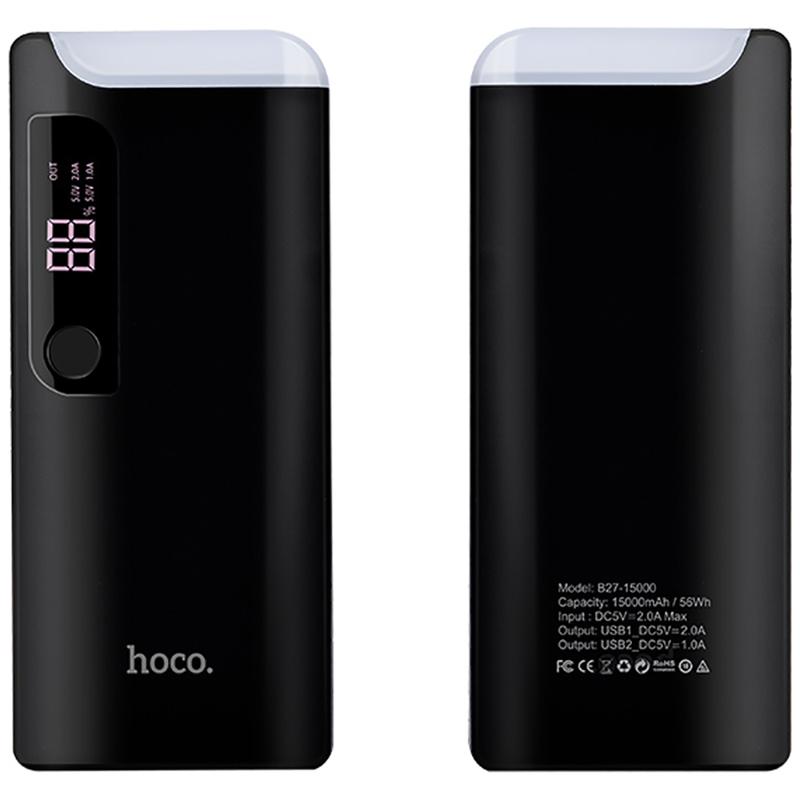 Acumulator extern 15000 mAh Hoco B27 2xUSB 2.0A - Negru