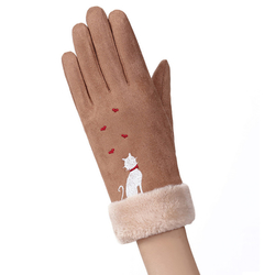 Manusi Touchscreen Knit Cat Femei - Maro