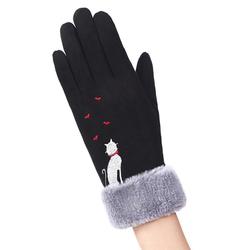 Manusi touchscreen dama Knit Cat, piele ecologica, negru