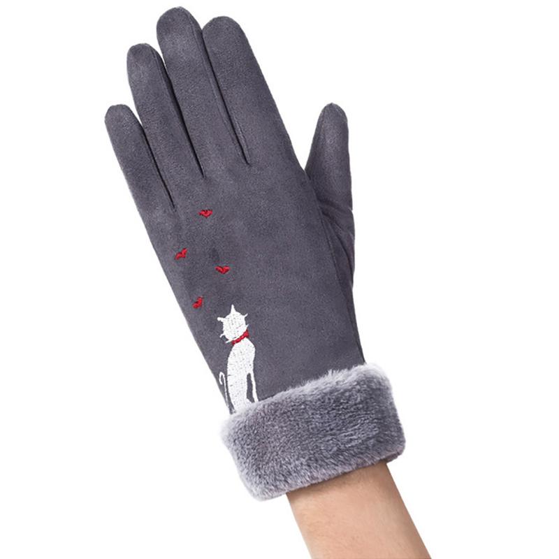 Manusi touchscreen dama Knit Cat, piele ecologica, gri