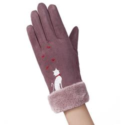Manusi touchscreen dama Knit Cat, piele ecologica, mov