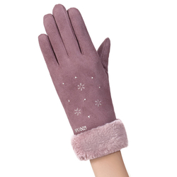 Manusi touchscreen dama Knit Snowflower, piele ecologica, mov