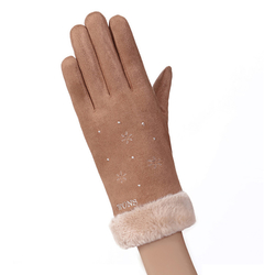 Manusi touchscreen dama Knit Snowflower, piele ecologica, maro