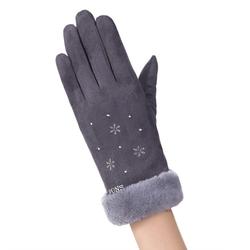 Manusi Touchscreen Knit Snowflower Femei - Gri