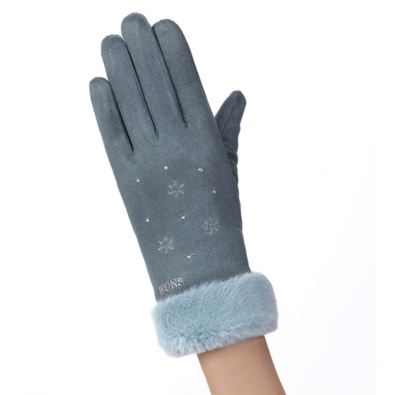 Manusi touchscreen dama Knit Snowflower, piele ecologica, albastru