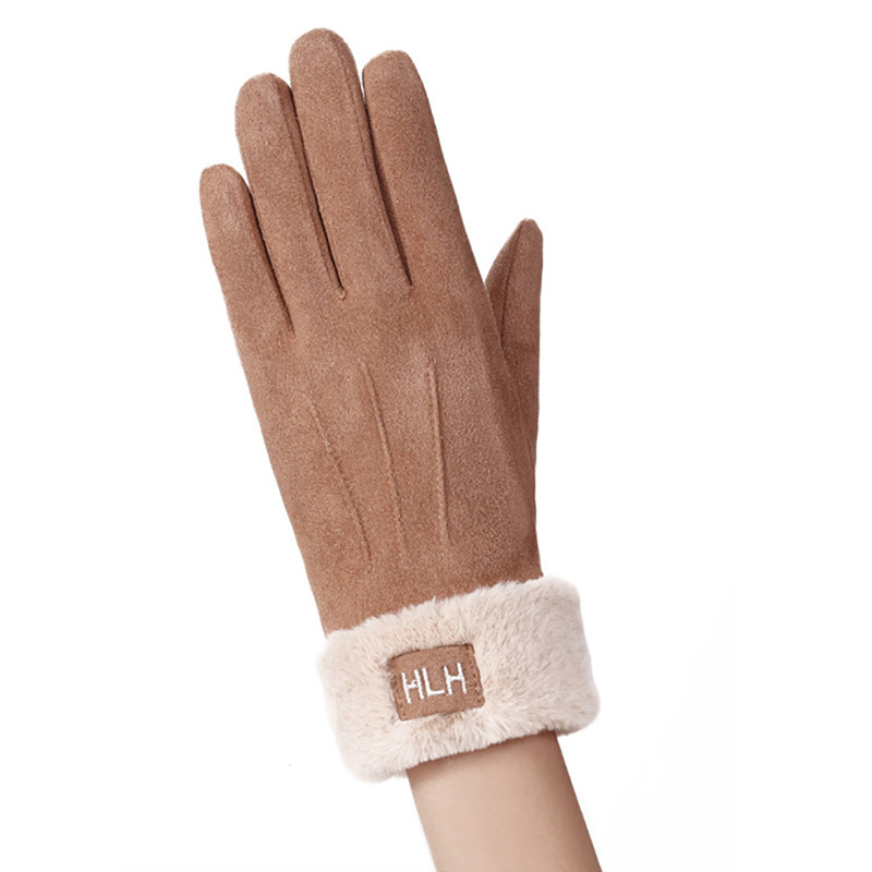 Manusi Touchscreen Knit HLH Femei - Maro