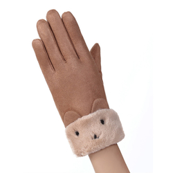 Manusi touchscreen dama Knit Kitty, piele ecologica, maro