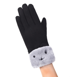 Manusi Touchscreen Mobster Knit Kitty Femei - Negru