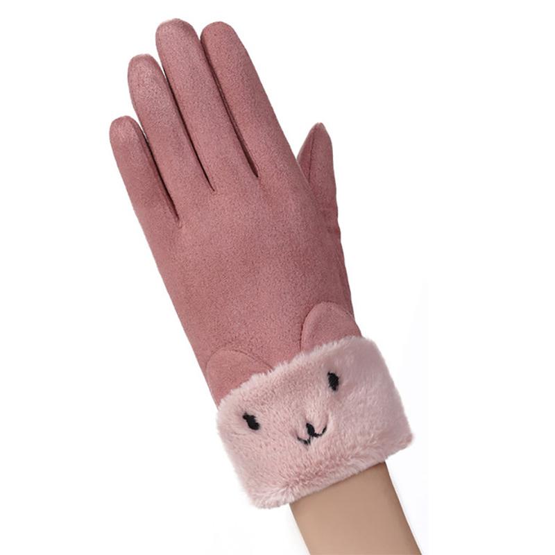 Manusi Touchscreen Knit Kitty Femei - Roz