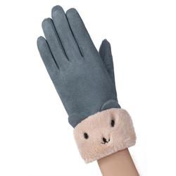 Manusi touchscreen dama Knit Kitty, piele ecologica, albastru
